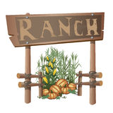 Entrance to ranch, harvest of corn and pumpkins Royalty Free Stock Photo
