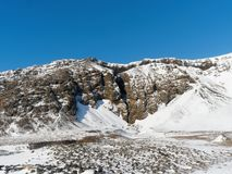 Entrance to Raudfeldsgja canyon, Snaefellsness peninsula, west Iceland in winter stock photo