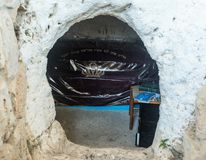 The entrance to the reconstructed tomb Rabbi Nakhman Katufa near the kibbutz Baram in Western Galilee in Israel. Bar`am, Israel, June 09, 2018 : The entrance to Royalty Free Stock Photography