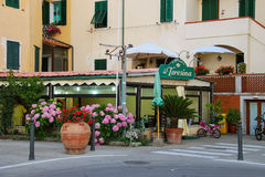 Entrance to restaurant Da Teresina on Elba Island. Marciana Mari Stock Photos