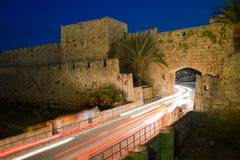 Entrance to Rhodes Old Town. Medieval wall and gate to Rhodes Old Town Royalty Free Stock Photo