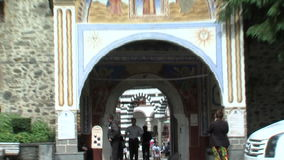 Entrance to the Rila Monastery in Bulgaria stock footage