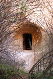 Entrance to the rock cave. Church in rock cave in Cappadocia? Turkey Stock Image