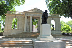 Entrance to Rodin Museum. The Thinker by Rodin at the Philadelphia Museum of Art's Rodin Museum. The Meudon Gate which stands at the entrance to the Rodin Museum Royalty Free Stock Photo