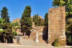 Entrance to Roman amphitheatre ruins in Malaga royalty free stock photos