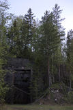 Entrance to a ruined Swedish railway bunker from WWII stock image