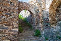 Entrance to the ruins of the old fortress. Entrance to the ruins of a medieval fortress royalty free stock photo