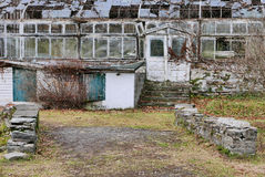 Entrance to Rustic Greenhouse Ruins Stock Images