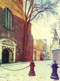 Entrance to Saint Jacob Catholic church in old city of Riga Royalty Free Stock Photography