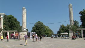 Entrance to the Seaside Park in Varna, Bulgaria stock video footage