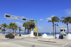 Entrance to Sebastian Street Beach. FORT LAUDERDALE, FLORIDA - MARCH 3, 2013: View from across the street of the opening to Sebastian beach at the end of Royalty Free Stock Images