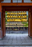 Entrance to shinto shrine with rows colourful paper lanterns, ky Royalty Free Stock Images