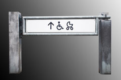 Entrance to the shop for physically challenged persons and strol. Lers, grey background Royalty Free Stock Photography