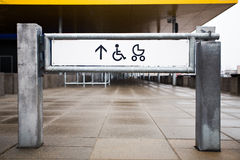 Entrance to the shop for physically challenged persons and strol. Lers, street view Stock Photo