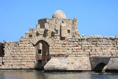 Entrance to Sidon Crusader Sea Castle (Lebanon) Royalty Free Stock Photography
