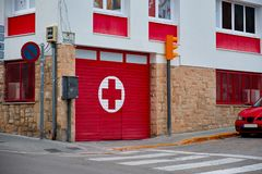 Entrance to and signage for a hospital emergency department. stock photos