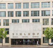 Entrance to the Sihlhof building in Zurich, Switzerland Royalty Free Stock Images