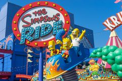 Los Angeles, Hollywood, USA - Simpsons ride in the Universal Studios park. Entrance to the Simpsons ride in the Universal Studios park, LA stock images