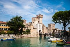 Sirmione entrance walls on Lake Garda, Lombardy royalty free stock image
