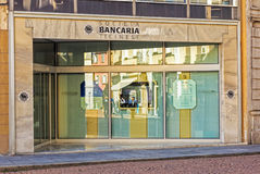 Entrance to the Societa Bancaria Ticinese bank. Bellinzona, Switzerland - 12 October, 2016: entrance to the Societa Bancaria Ticinese bank office. Societa Stock Photo