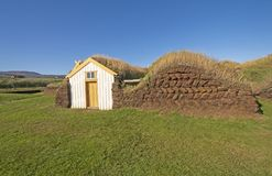 Entrance to a Sod House with Wall Details. Near Glaumbaer, Iceland royalty free stock images