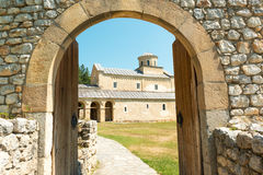 Entrance to Sopocani Monastery Royalty Free Stock Photos