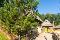Entrance to a souvenir zone in Kusturica Drvengrad in Serbia royalty free stock image