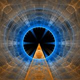 Entrance to space. Yellow and blue lines and curves - fractal vector illustration