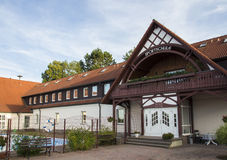 Entrance to the Sportschule in Werdau, Germany, 2015 stock photo
