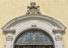 Entrance to St. Michael Basilica at Mondsee, Austria. Stock Photography