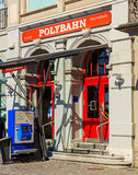 Entrance to the station of the Polybahn on Central square in Zur Stock Photo