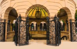Entrance to a subway. The forged iron gate. Entrance to a subway. Toned photo Royalty Free Stock Images
