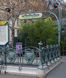 Entrance to the subway in Paris. Entrance to the subway of Paris in the Art Nouveau style Stock Images