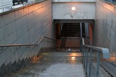 Entrance to the subway on a rainy day, Moscow stock photo