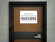 Entrance to success sign hanging on office door Stock Photos