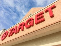 Entrance to Target the second-largest discount store retailer in. IRVING, TX, US-APR 17, 2018:Close-up logo sign Target entrance cloud blue sky. Second-largest royalty free stock photography