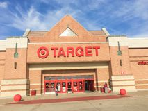Entrance to Target the second-largest discount store retailer in. IRVING, TX, US-APR 17, 2018:Customers enter and exit Target, the second-largest discount store royalty free stock image