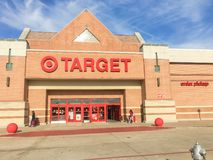 Entrance to Target the second-largest discount store retailer in. IRVING, TX, US-APR 17, 2018:Customers enter and exit Target, the second-largest discount store royalty free stock images
