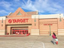 Entrance to Target the second-largest discount store retailer in. IRVING, TX, US-APR 17, 2018:Customers enter Target entrance, the second-largest discount store stock photo