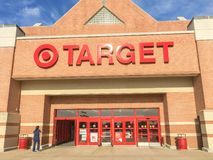Entrance to Target the second-largest discount store retailer in. IRVING, TX, US-APR 17, 2018:Customers enter Target entrance, the second-largest discount store Royalty Free Stock Image