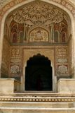 An entrance to a temple in Amber Fort, India. An entrance to an old abandoned temple in Amber Fort complex, Rajasthan, India Royalty Free Stock Photography