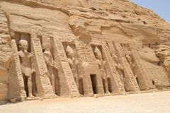 Entrance to the temple of Nefertari at Abu Simbel Royalty Free Stock Image
