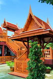 The entrance to Thai traditional house style. This is the entrance to a Thai traditional style house. It all made from wood Royalty Free Stock Photos