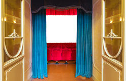 The entrance to the theater. The entrance of an old theater with the stage empty but ready to host any show Royalty Free Stock Photos