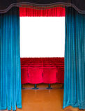 The entrance to the theater. The entrance of an old theater with the stage empty but ready to host any show Stock Image