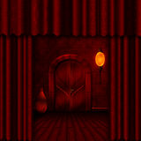Entrance to the theater of shadows. Dark red background image with beautiful architectural door-arch - Entrance to the theater of shadows Royalty Free Stock Image