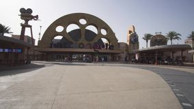 Entrance to the theme park Motiongate at Dubai Parks and Resorts stock footage video. Dubai, UAE - April 01, 2018: Entrance to the theme park Motiongate at Dubai stock video