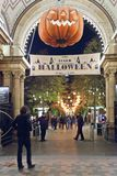 Entrance to the Tivoli park with decorations for the holiday - Halloween Stock Image