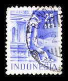 Entrance to Tjandi-Poentadewa Temple, Buildings serie, circa 1949. MOSCOW, RUSSIA - FEBRUARY 10, 2019: A stamp printed in Indonesia shows Entrance to Tjandi royalty free stock photos