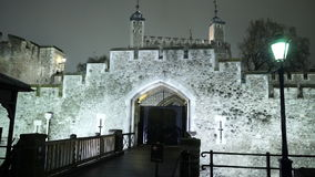 Entrance to the Tower of London by night. LONDON, ENGLAND stock footage